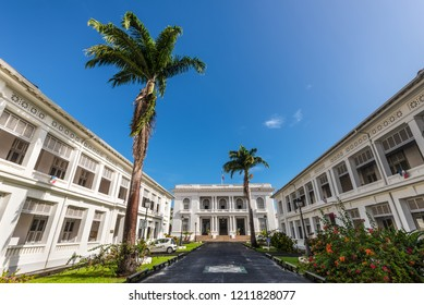 Fort-de-France, Martinique - December 19, 2016: Wide angle view of the Prefecture of Martinique in Fort-de-France, Martinique, Caribbean. Martinique is an insular region of France.