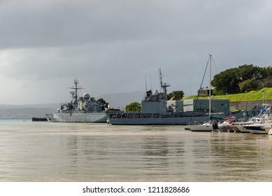 Fort-de-France, Martinique - December 19, 2016: French Navy Warships, sailing yachts and boats moored in port of Fort-de-France, Martinique, Caribbean. Martinique is an insular region of France.