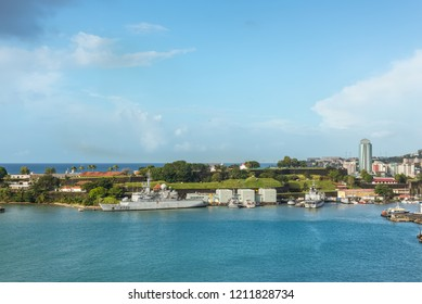 Fort-de-France, Martinique - December 19, 2016: French Navy Warships and boats moored in port of Fort-de-France, Martinique, Caribbean. Martinique is an insular region of France.