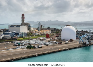 Fort-de-France, Martinique - December 19, 2016: Power plant (EDF - Electricite de France) and port infrastructure in Fort de France, the capital of Martinique, an overseas department of France.