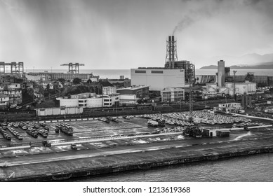 Fort-de-France, Martinique - December 19, 2016: Power plant (EDF - Electricite de France) in Fort de France, the capital of Martinique, an overseas department of France. Black and white photography.