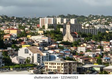 Fort-de-France, Martinique - December 19, 2016: Cityscape in cloudy weather of Fort-de-France, Martinique, Lesser Antilles, West Indies, Caribbean.