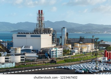 Fort-de-France, Martinique - December 19, 2016: Electrical power station (EDF - Electricite de France) and port infrastructure in Fort de France, Martinique, an overseas department of France.