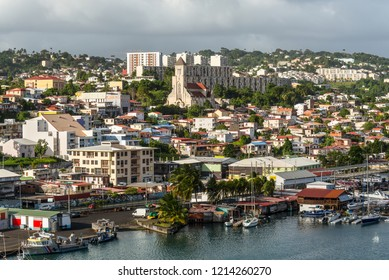 Fort-de-France, Martinique - December 20, 2016: Cityscape of Fort-de-France, Martinique, Lesser Antilles, West Indies, Caribbean. View from the cruise ship.