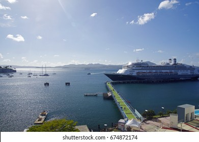 Fort-de-France, Martinique - January 09, 2017: Cruise ship Rotterdam docked in the port of Fort-de-France in Martinique. Rotterdam is a cruise ship for the Holland America Line