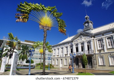 FORT-DE-FRANCE, MARTINIQUE - JANUARY 9, 2017 - The ancient town hall of Fort-de-France and Aime Cesaire theater. Fort de France is the capital of Martinique island, Lesser Antilles