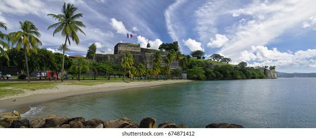 FORT-DE-FRANCE, MARTINIQUE - JANUARY 9, 2017 - The beach in center of Fort de France near walls of Fort Saint Louis. Fort de France is the capital of Martinique island, Lesser Antilles