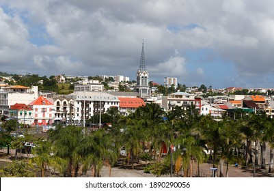 The Fort-de-France view with Saint Louis cathedral in Martinique island, French West Indies.