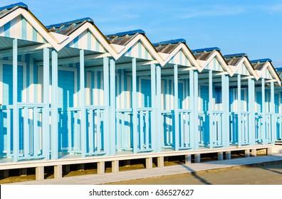 Forte dei Marmi beach with blue cabins popular touristic place, Versilia, Tuscany,Italy.