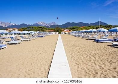 Forte dei Marmi beach in summer