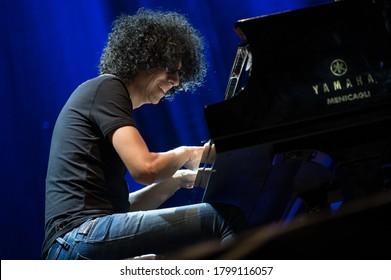 FORTE DEI MARMI, ITALY - AUGUST 12, 2020:  Giovanni Allevi permorm on stage at Villa Bertelli Forte dei Marmi in your Piano Solo Tour