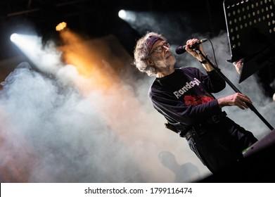 Forte dei Marmi, ITALY - August 16, 2020:  PFM perform on stage singing the song of Fabrizio DeAndrè at Villa Bertelli Forte dei Marmi