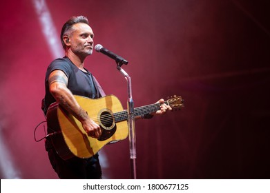 FORTE DEI MARMI, ITALY. AUGUST 21, 2020. Nek perform on stage with his tour SOLO: guitar and voice.