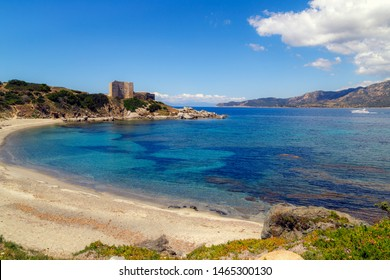 Fortezza Vecchio beach with crystal clear blue water in Villasimius, Sardinia. Holidays, the best beaches in Sardinia.