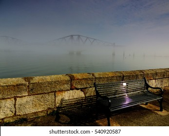 Forth Bridge in fog