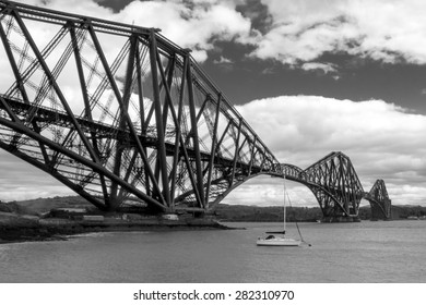 Forth Bridge view from North Queensferry, Edinburgh, Scotland in black and white.