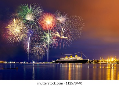 Forth of July fireworks at Long Beach, California.
