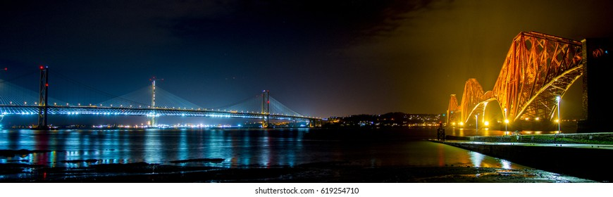 Forth Rail Bridge and Queensferry Crossing in Scotland
