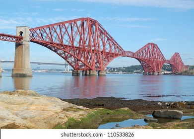 forth rail bridge with the forth road bridge in the background