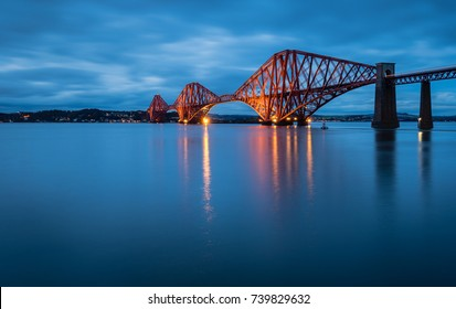 Forth Railway Bridge at Night / The Forth Bridge is a cantilever railway bridge across the Firth of Forth in Scotland, west of Edinburgh City Centre