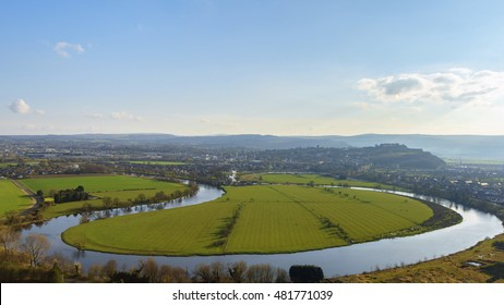 Forth river and Stirling city, Scotland. Seen from Wallace Monument on the summit of Abbey Craig hill.