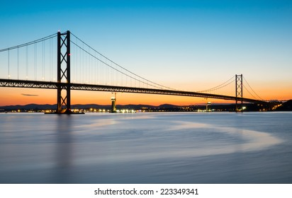 The Forth road bridge after sunset