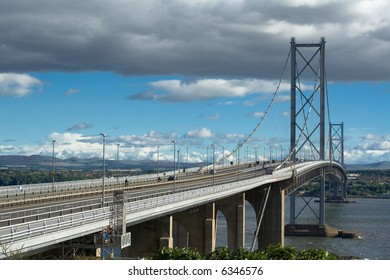 forth road bridge from fife to edinburgh in scotland