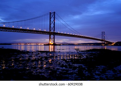 The Forth Road Bridge at Night Edinburgh Scotland