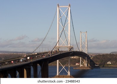 Forth Road Bridge on a sunny day.  Traffic congestion due to road works.