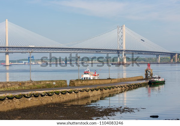 Forth Road Bridge and Queensferry Crossing over Firth of Forth near Queensferry in Scotland