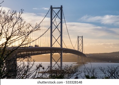 The Forth Road bridge at sunrise, viewed from North-Queeensferry. Edinburgh, Scotland