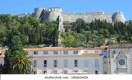 The Fortica fortress (Spanish Fort or Spanjola Fortress) on the Hvar island in Croatia. Ancient fortress on Hvar island over town (citadel), popular touristic attraction of Adriatic coast, Croatia.