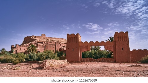 Fortifications and buildings of the settlement of Ait Ben Haddouw in Morocco
