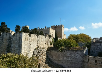 fortifications of a medieval castle Castle of the Knights on the island of Rhodes