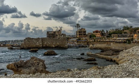 Fortifications of the medieval harbour of Byblos (jubail) in Lebanon
