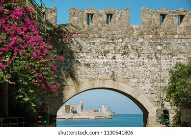 The fortifications of the town of Rhodes Greece