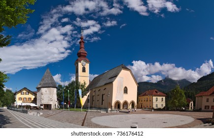 Fortified Church of Saint Peter and Paul in the Alpine town of Tarvisio, Friuli, Italy