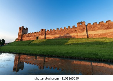 The fortified medieval town of Castelfranco Veneto at sunset, XII-XIII century. Treviso, Veneto, Italy, Europe