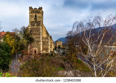 Fortified Stone Church, St Michael, beside Danube River in Weissenkirchen, in Wachau Valley
