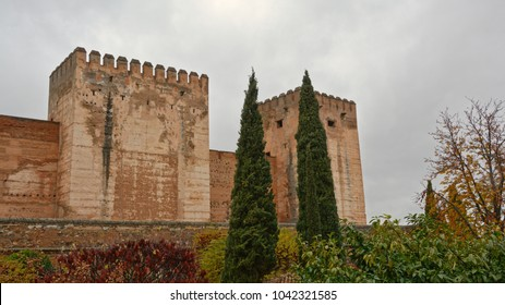 Fortified tower with crenels of Alhambra medieval moorish castle, Granada, Spain