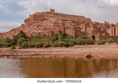 The fortified town of Aït Benhaddou seen from the river.