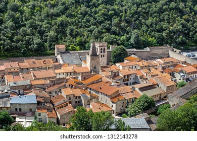 The fortified village of Villefranche-de-Conflent, situated at the confluence of the Tet, the Cady and the Rotja, at the foot of Mount Canigou in the Pyrenees-Orientales, Languedoc-Roussillon, France