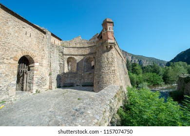Fortified village of Villefranche-de-Conflent. Village of southern France fortified by architect Vauban. View of one of Villefranche's entrances.