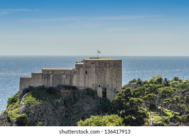 Fortified wall of medieval town Dubrovnik. Bulk of existing walls and fortifications was constructed during 14-15 centuries but they were continually strengthened up to and 17 century. Croatia, Europe
