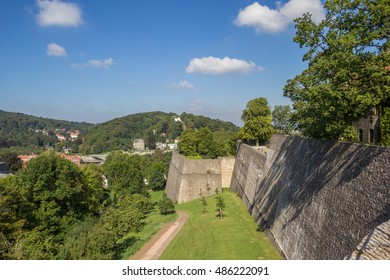Fortified wall of the Sparrenburg castle in Bielefeld, Germany