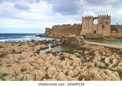 Fortified walls of the Venetian fortress in Methoni, Greece