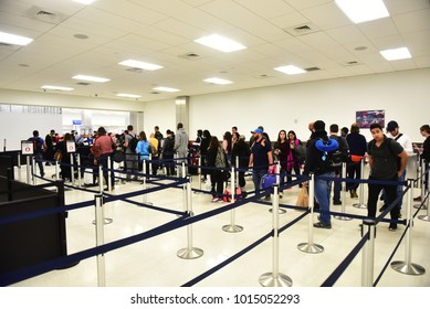 Fort-Lauderdale - JANUARY 22, 2018: Unidentified people lined up for security and passport control at Fort-Lauderdale International Airport, Florida