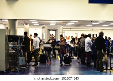 Fort-Lauderdale - JANUARY 22, 2018: Unidentified people at the security and passport control at Fort-Lauderdale International Airport, Florida