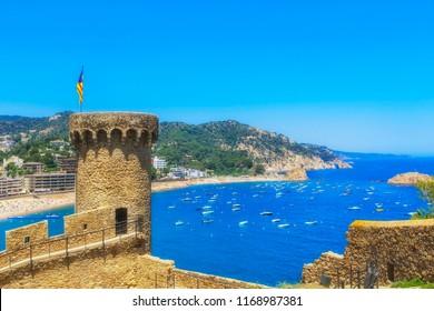 the Fortress and bay of Tossa de Mar, Catalunia,Costa Brava,Spain