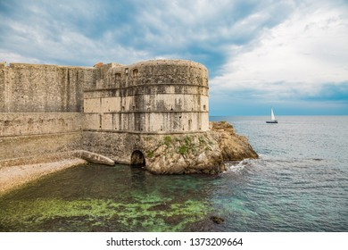 Fortress Bokar in Dubrovnik with sailing ship